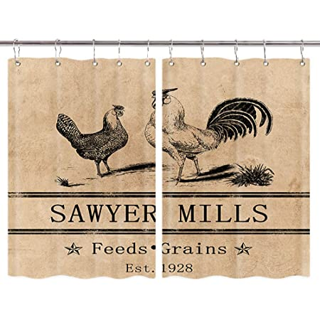 Amazon Com Rooster Kitchen Curtains Farmhouse Miller Farm Aniaml Chicken Window Curtain Panel Country Farmhouse Style Curtains For Living Room Bedroom Farmhouse Window Treatment Sets With Hooks 55x39 In Kitchen Dining