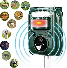 Ultrasonic Repeller, Solar Powered Waterproof Outdoor Animal Repeller with Ultrasonic Sound,Motion Sensor and Flashing Light Repeller for Cats, Dogs, Squirrels, Moles, Rats (Large)