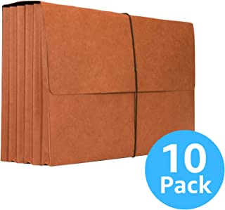 """Accordion Wallet – Legal Size Files and Documents with 5¼"""" Expansion – Heavy Duty Portfolio Organizer with Rope Cord – Red – Box of 10"""