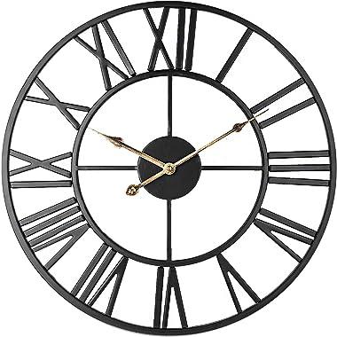 Horloge Murale Squelette Silencieuse, Chiffres Romains 40cm Grande Horloge Vintage En Métal pour Salon Cuisine Café Hôtel Cha