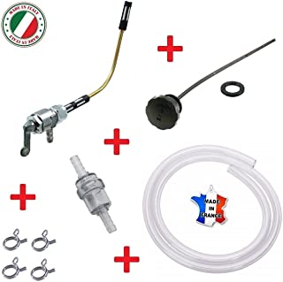 VESPA PIAGGIO SET : FUEL TAP + FILTER + HOSE CLAMP + GAS CAP + FUEL HOSE PETROL BOSS BOXER BRAVO MIX CIAO S SC PX 50 FL P GRILLO PETCOCK INLINE ON/OFF MOTORCYCLE MOTORBIKE ROLLER MOPED SCOOTER