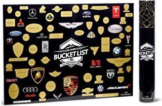 Cloudlined Scratch Off Car Poster for Guys - 70 Different Car Brands Man Cave Wall Decor - Bucket List Style Poster - Perfect for Car Enthusiast, Automotive Lovers or Garage Decor (24Lx17W)