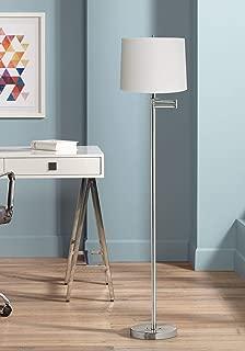 Modern Floor Lamp Swing Arm Brushed Nickel White Hardback Drum Shade for Living Room Reading Bedroom - 360 Lighting