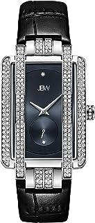 JBW Luxury Women's Mink 12 Diamonds & 280 Swarovski Crystals Croco-Embossed Leather Watch