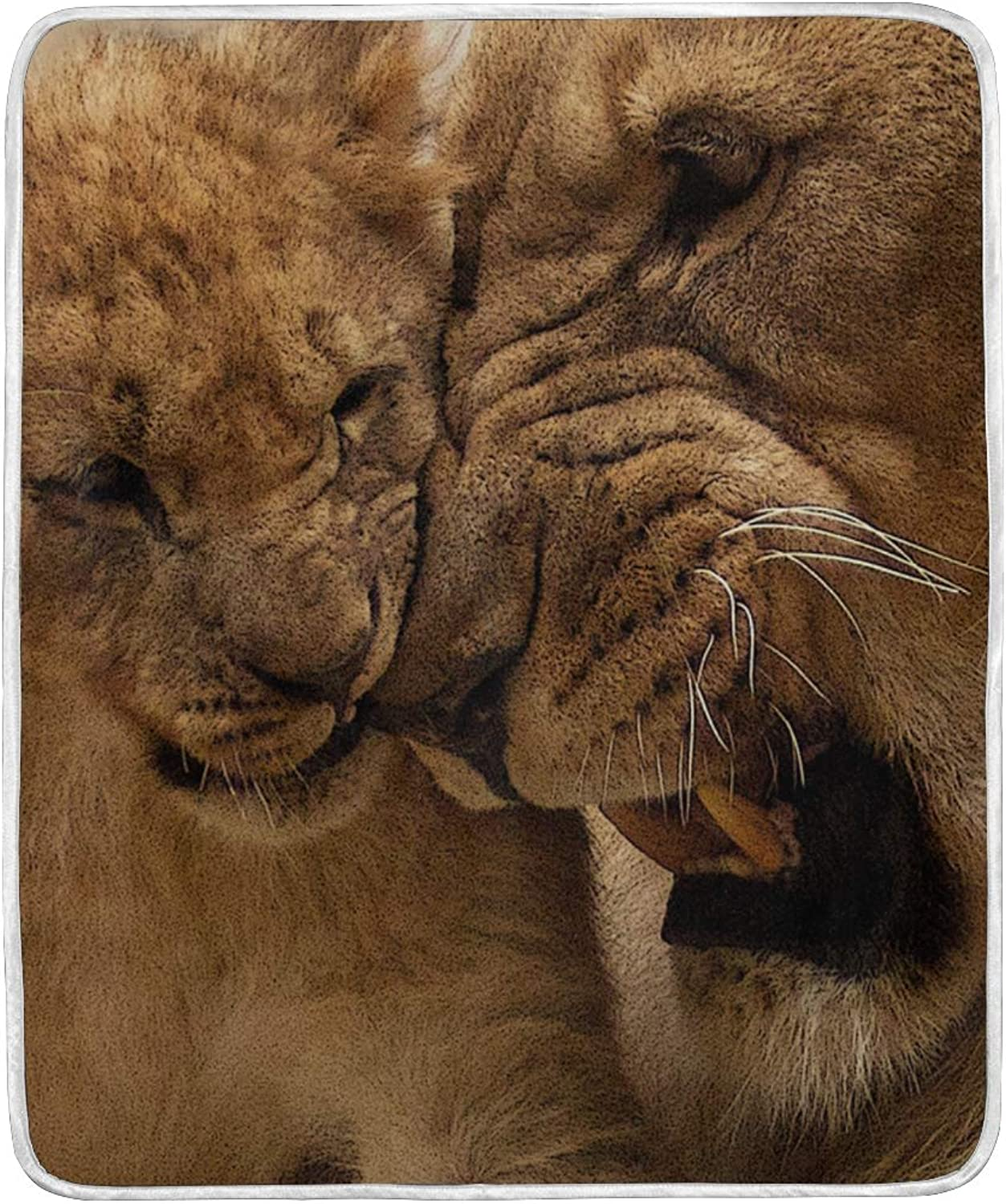 WIHVE Throw Blanket Lion Lightweight Warm Cozy Microfiber Blankets Travelling Camping 50 x 60 Inch, All Season for Couch or Bed