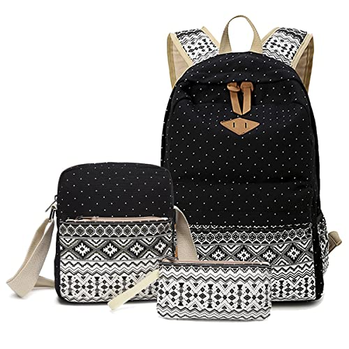 Abshoo Canvas Dot Backpack Cute Teen Girls Backpacks Set 3 Pcs School  Bookbags f19b174fbc99d