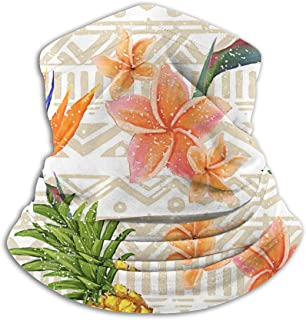 Hawaiian Pineapple Flowers Unisex Microfiber Neck Warmer Sunscreen Windproof Balaclava Headband Scarf For Outdoor