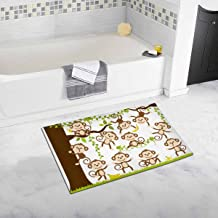 INTERESTPRINT Cute Cartoon Monkey Art Home Decor Non Slip Bath Rug Set Absorbent Floor Mats for Bathroom Tub Bedroom Large Size 20 x 32 Inches