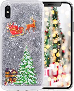 iPhone 6/6s Funny Case,Fusicase Style Christmas Tree Rudolph Pattern Flowing Liquid Floating Luxury Bling Glitter Sparkle Case Cover for iPhone 6/6s 4.7