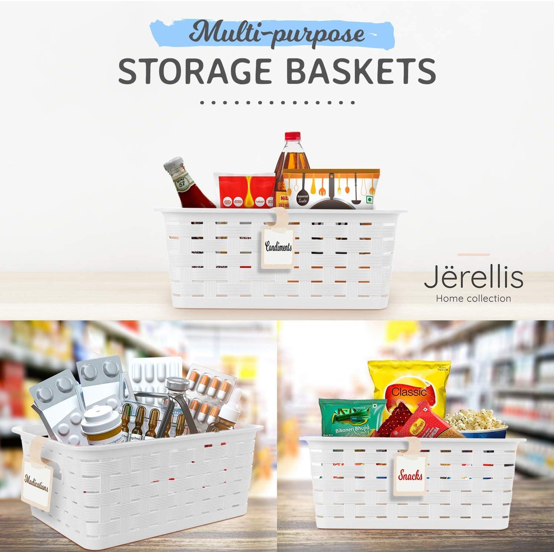 Storage Baskets For Organizing Small Storage Basket Beige Plastic Bins For Organizing 8 PC Set With Tags Small Plastic Storage Bins Plastic Baskets For Organizing Plastic Storage Basket