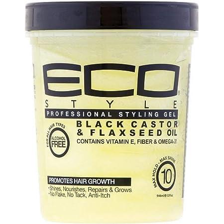 Beauty Logica Eco Style Gel Black Castor & Flaxseed Oil, 32 oz