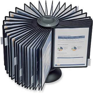 DURABLE Carousel Desktop Reference System, 40 Double-Sided Panels, Letter-Size, Black, SHERPA Design (555701)