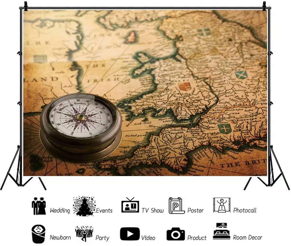 DaShan 14x10ft Vintage Old Century Map Antique Compass Backdrop World Travel Baby Shower Decor Adventure Awaits Travel Theme Birthday Party Photography Background Kid Cake Table Photo Props