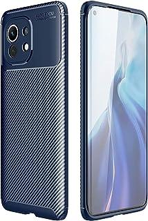 For Xiaomi Mi 11 AutoFoucs carbon Fiber Slim Soft TPU Case Cover - Blue