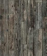 1306 Rustic Texture Wood Planl Wallpaper Rolls,Gray/Brown/Black Faux Wood Plank Wallpaper Murals Home Kitchen Bedroom Living Room Decoration 20.8