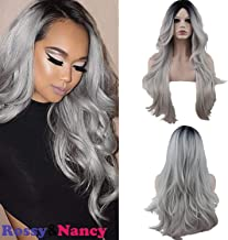 Rossy&Nancy Two Tones Cheap Synthetic Long Nature Wave Heat Resistant None Lace Wig Middle Part Ombre Black Rooted Silver Gray 130% High Density for Women