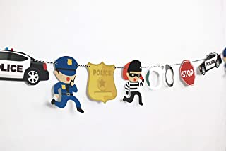 Cops and Robbers - Garland | Cop Party Decoration | Boy Birthday Party | Cops, Robbers, Police Car, Police Badge, Handcuffs, Stop Sign | Kids Party Decor
