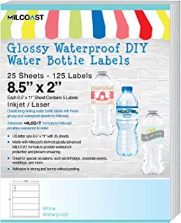 Milcoast Glossy Waterproof DIY Water Bottle Labels 8.5 x 2 for Inkjet/Laser Printers - 125 Labels (25 Sheets)