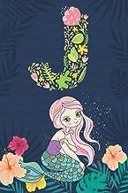 J: Initial Monogram Notebook Letter J for mermaid lovers, Work, School, Writing Pad, Journal or Diary, Monogrammed Gifts f...