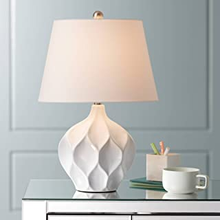 Dobbs Modern Accent Table Lamp White Ceramic Tapered Drum Shade for Living Room Bedroom Bedside Nightstand Office Family - 360 Lighting