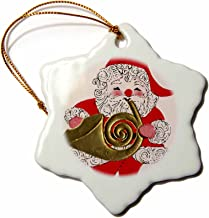 3dRose orn_29059_1 Santa Playing The French Horn-Snowflake Ornament, Porcelain, 3-Inch
