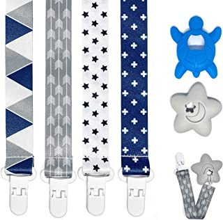 Pacifier Teether Clips 4 Pack for boy with teether 2 Packs