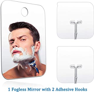 Shower Mirror Shave Makeup Fogless Mirror Lightweight Frameless Mirror with 2 Pieces Adhesive Hooks, 6.8 x 5.2 Inch