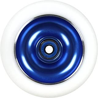 Kick Push Aluminum hub Scooter Wheel with Bearings, Blue/White, 100mm