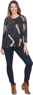 Jess & Jane Women's Contours Black Slub Sweater Knit High Low Slit Side Tunic