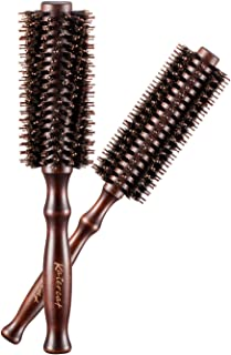 Round Barrel Hair Brush with Boar Bristle, Hairbrush for Blow Drying Curling & Straightening Short to Long Hair (2 Inch+1.6 Inch Set)