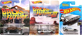 Tri-Sci-Fi Entertainment 3 Pack Hot Wheels Retro Back to Future Movie Die-Cast Car Collection 1955 Train Mode Pop Culture 2019 / Ford Super De Luxe Pickup Truck + DMC Delorean Time Machine Hover Mode