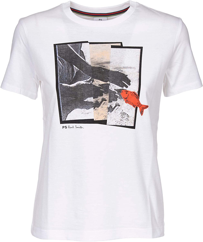 PAUL SMITH Women's W2RG799AP099601 White Cotton TShirt