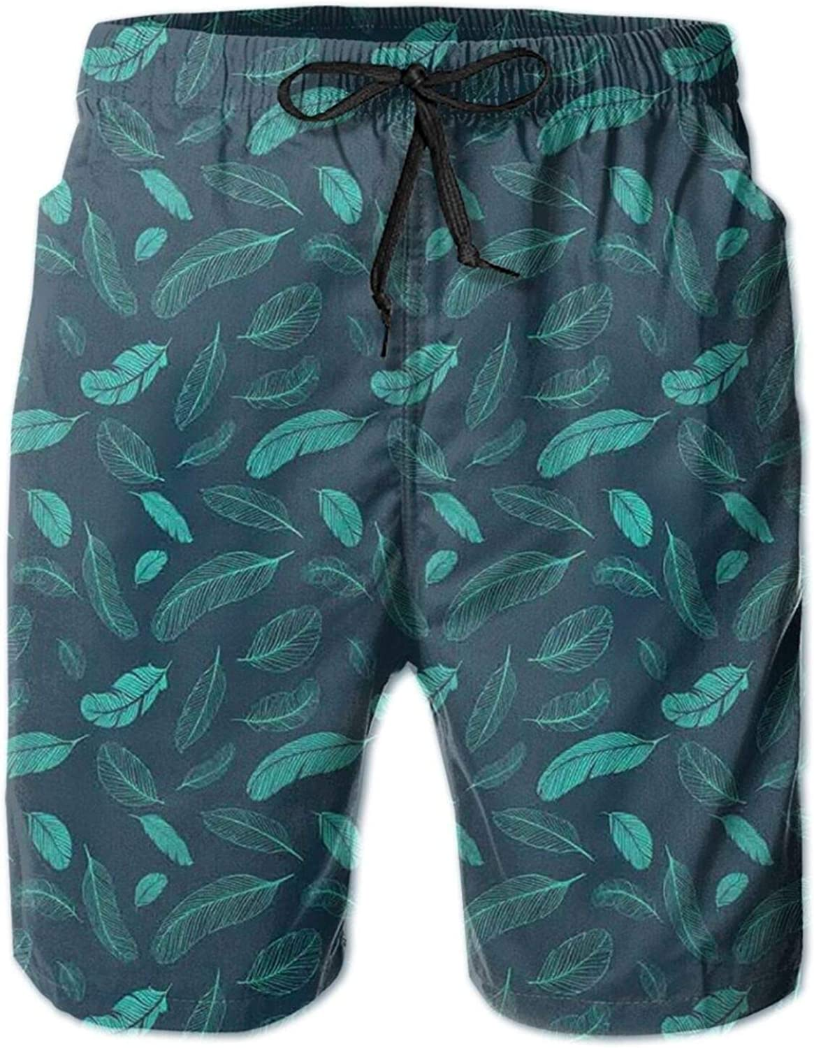 Abstract Falling Feathers Exotic Animal Quill Tropical Wildlife Birds Mens Swim Trucks Shorts with Mesh Lining,M