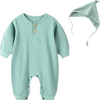 مولود جديد طفل صبي بنت محبوك قطن رومبير كم طويل أزرار بذلة قبعات ربيع خريف ملابس (Color : Green, Size : 66CM)