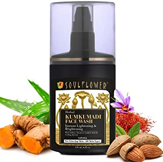 Soulflower Herbal Kumkumadi Face Wash 120ml for Bright, Clear & Glowing Skin, Reduces Dark Spots, Blemishes, Acne for Men&...