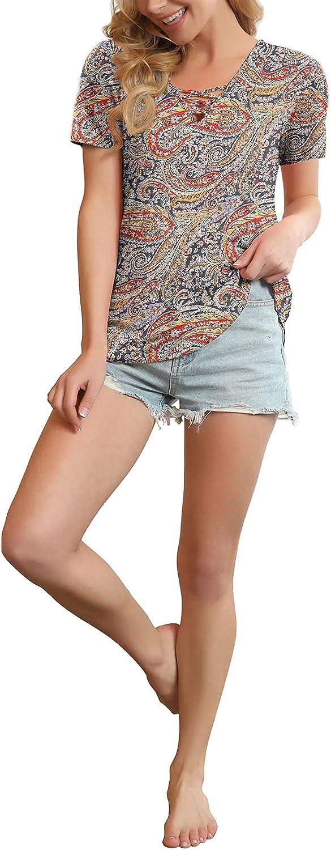 Feiersi Women's Short Sleeve Criss Cross Casual Short Sleeve Basic Blouse