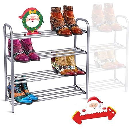 GEMITTO Étagère à Chaussures, 4 Niveaux Robuste Porte-Chaussures Métal Extensible, Meuble chaussures pour 20 paires de chaussures, Range Chaussures 60-106x22.5x61.5cm, pour Salon, Couloir (Argent)