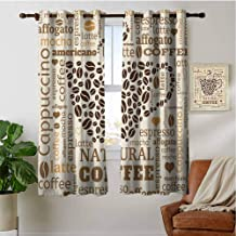 PRUNUSHOME Latte Affogato Coffee Kitchen Curtains, Blackout Small Window Curtains for Bathroom Basement for Cafe, Bath, Laundry, Bedroom(Set of 2 Panels,42 by 36 Inch)