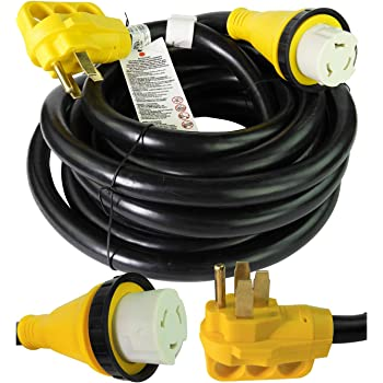 Leisure Cords 25' Power/Extension Cord with 50 AMP Male Standard / 50 AMP Female Locking Adapter (50 Amp - 25 Foot)