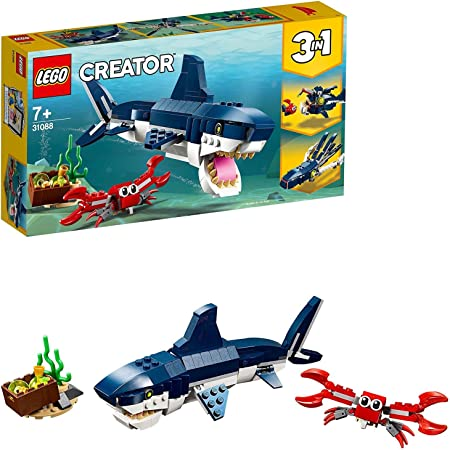 LEGO Creator Creature degli Abissi: Squalo, Granchio e Calamaro o Rana Pescatrice, Set da Costruzione 3 in 1 per Avventure Marine, Giocattoli per Bambini dai 7 Anni in su, 31088