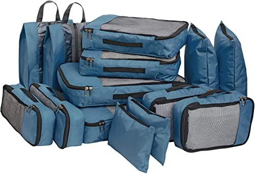 Polyester Bag Organizer With Packing Cubes Shoe Bags Storage Bags Set Of 14 Blue 600123SWBGA1