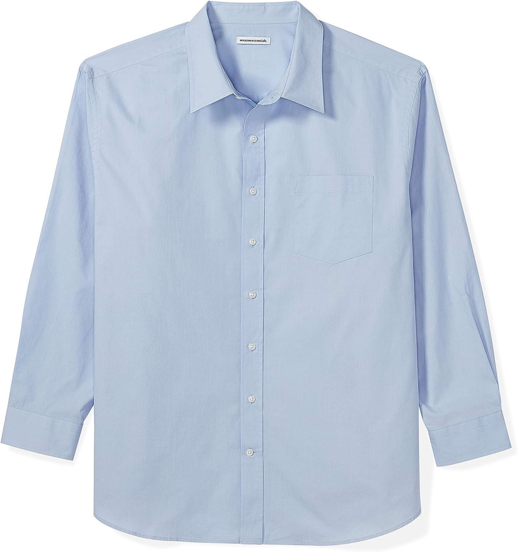 Amazon Essentials Men's Big & Tall Long-Sleeve Solid Casual Poplin Shirt fit by DXL