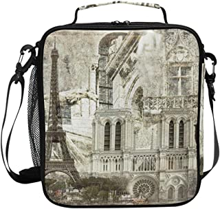 ADONINELP Lunch Bag Square Textured Grunge Paper Background Paris Architecture 3D Printed Picnic Bag Insulated Cooler Tote Box Meal Holder Containers Lunchbox Case