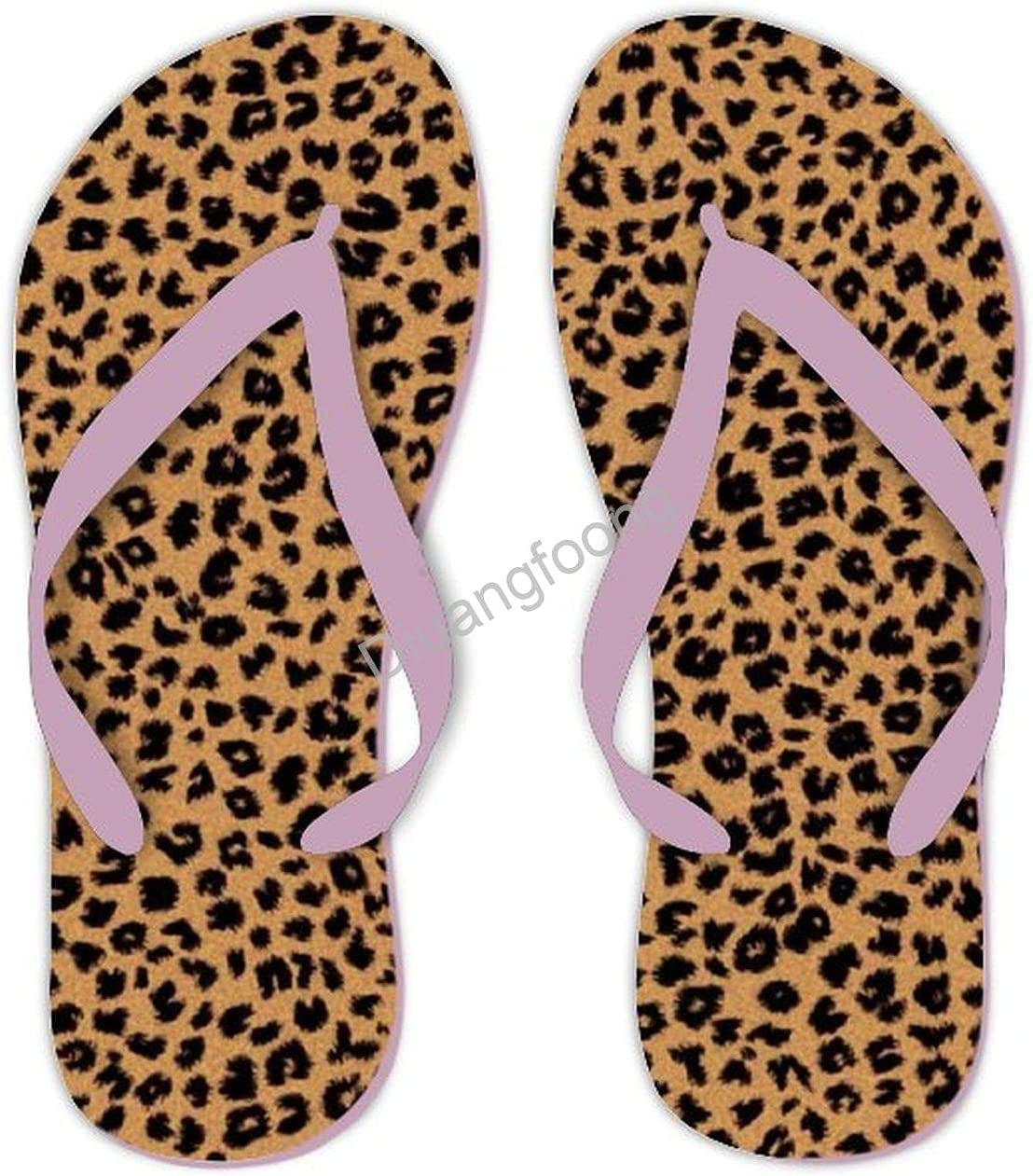 Leopard Flip Flops Beach Unisex Thong Sandals Pretty Sandal For Outdoor Travel Shipping Pink Style1