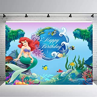 Under The Sea Mermaid Backdrop Girls Birthday Background 7x5ft Ariel Mermaid Princess Background for Photography Children Birthday Party Decoration Supplies Decorations Banner Photo Studio Props