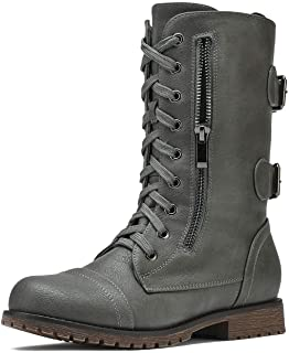 DREAM PAIRS Women`s Lace up Mid Calf Boots