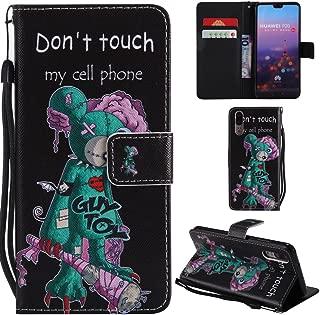 Ooboom Huawei P20 Pro ケース 手帳型 横開き カバー 革 マグネット式ド収納 スタンド機能 財布型 カード おしゃれ フリップ ために Huawei P20 Pro - Don't Touch My Cell Phone