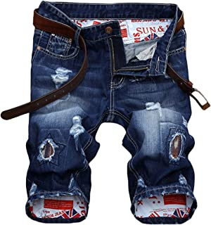 Lavnis Men's Moto Biker Jeans Shorts Ripped Distressed Denim Shorts with Broken Hole