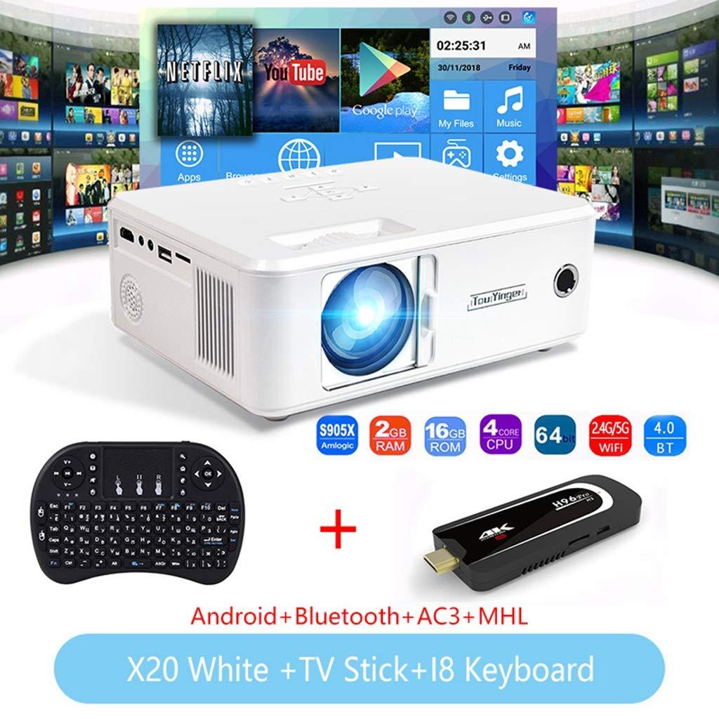 WHLDCD Proyector Mini proyector de la Marca LED Full HD 1080P Video Beamer portátil Home Theater Cinema LCD TV Smart 3D proyector de películas, Caja de TV Blanca: Amazon.es: Electrónica
