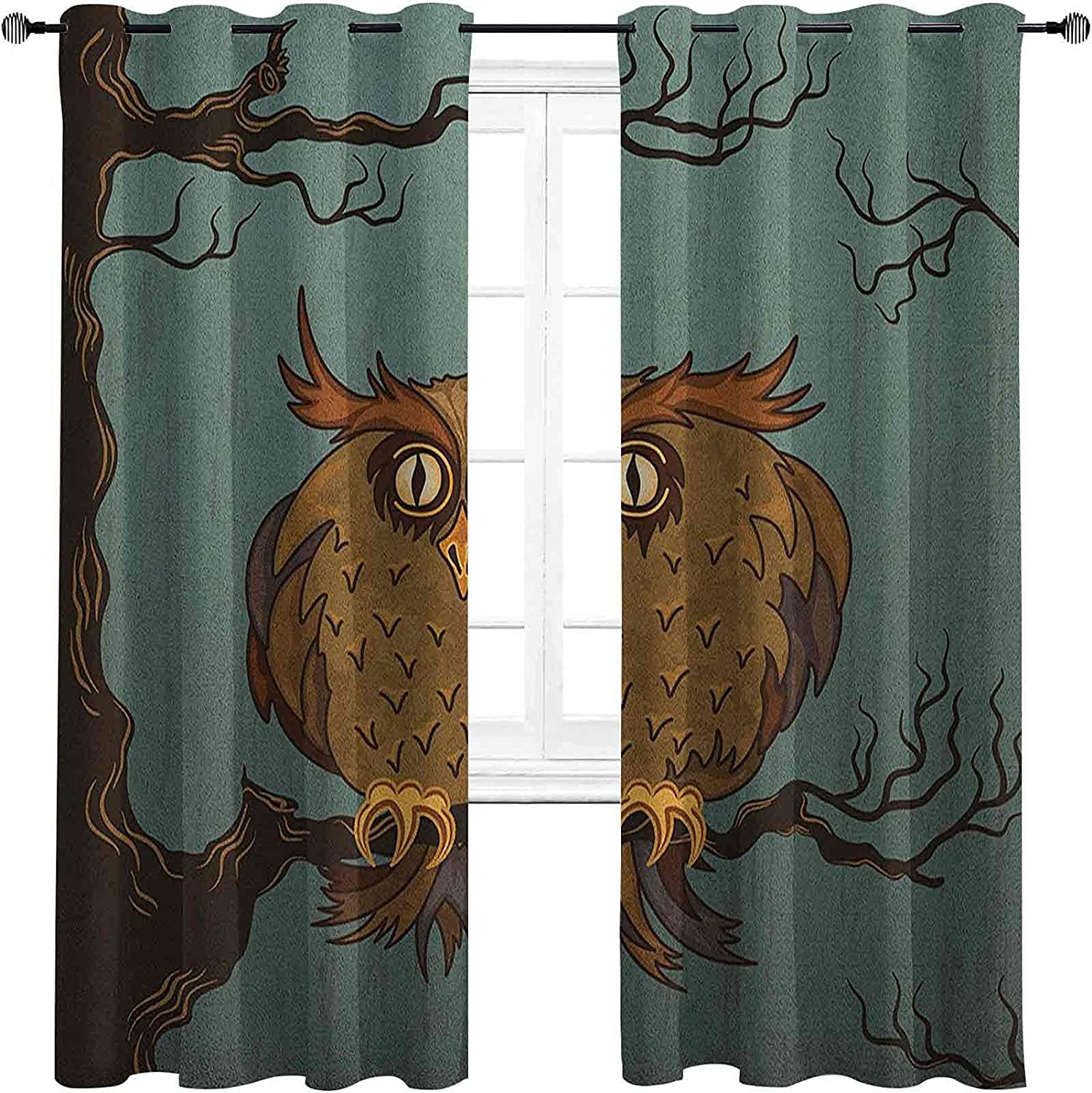 Owl New sales At the price Blackout Curtains with Grommets Exhausted Hangover darken T